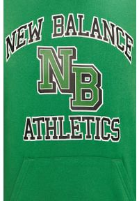 Zielona bluza nierozpinana New Balance z kapturem, casualowa