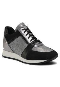 Simen - Sneakersy SIMEN - 2808A Czarny/Srebrny. Okazja: na spacer. Kolor: srebrny, czarny, wielokolorowy. Materiał: skóra, zamsz, materiał. Szerokość cholewki: normalna. Sezon: lato. Obcas: na koturnie. Wysokość obcasa: średni