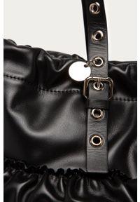 Czarna shopperka Red Valentino gładkie, na ramię, klasyczna, duża