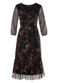 Czarna sukienka bonprix z nadrukiem, midi