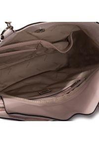 Różowa shopperka Guess klasyczna, skórzana