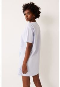 Biała piżama Undiz krótka, z nadrukiem