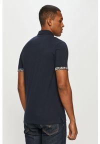 Niebieska koszulka polo PRODUKT by Jack & Jones z nadrukiem, krótka