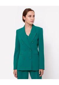 MARLU - Zielona marynarka dwurzędowa Grace. Kolor: zielony. Materiał: wiskoza, elastan. Długość rękawa: długi rękaw. Długość: długie. Styl: wizytowy