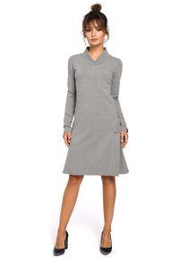 MOE - Szara Sukienka z Długim Rękawem. Kolor: szary. Materiał: elastan, bawełna. Długość rękawa: długi rękaw