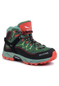 Zielone buty trekkingowe Salewa z cholewką za kostkę, z cholewką