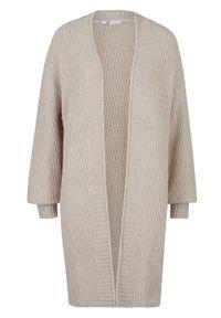 Długi sweter bez zapięcia w strukturalny wzór bonprix szary kamienisty. Kolor: szary. Długość: długie