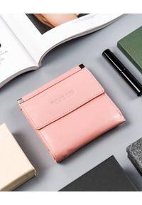 4U CAVALDI - Kwadratowy portfel damski różowy Cavaldi RD-16-GCL-6276 SALMO. Kolor: różowy. Materiał: skóra