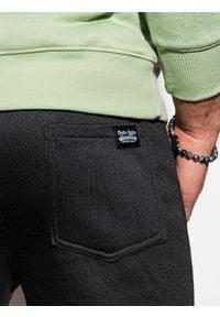 Ombre Clothing - Spodnie męskie dresowe joggery P867 - czarne - XXL. Kolor: czarny. Materiał: dresówka #4