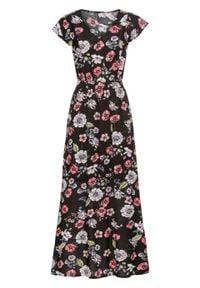 Długa sukienka z nadrukiem i falbanami bonprix czarny w kwiaty. Typ kołnierza: dekolt w serek. Kolor: czarny. Wzór: kwiaty, nadruk. Długość: maxi