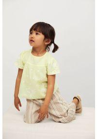 Żółta bluzka Mango Kids na co dzień, krótka, z haftami