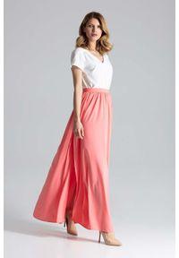 Figl - Koralowa Długa Marszczona Spódnica w Liście. Kolor: pomarańczowy. Materiał: poliester, elastan. Długość: długie