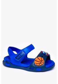 Niebieskie sandały Casu na rzepy, z aplikacjami