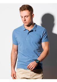 Niebieska koszulka polo Ombre Clothing klasyczna, polo, z haftami