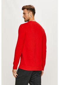 Czerwony sweter Tommy Jeans z okrągłym kołnierzem, na co dzień, casualowy