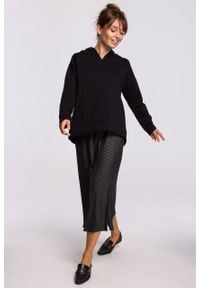 e-margeritka - Bluza bawełniana z kapturem czarna - l/xl. Okazja: na co dzień. Typ kołnierza: kaptur. Kolor: czarny. Materiał: bawełna. Długość: krótkie. Styl: casual