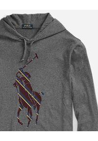 Ralph Lauren - RALPH LAUREN - Szara bluza ze wzorzystym nadrukiem. Typ kołnierza: kaptur, polo. Kolor: szary. Materiał: bawełna. Długość rękawa: długi rękaw. Długość: długie. Wzór: nadruk