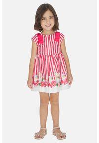 Różowa sukienka Mayoral na ramiączkach, rozkloszowana, mini