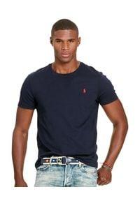 Ralph Lauren - RALPH LAUREN - Granatowy t-shirt. Kolor: niebieski. Materiał: bawełna. Wzór: haft. Styl: klasyczny #1
