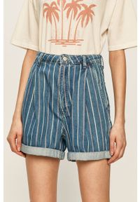 Niebieskie szorty Pepe Jeans z podwyższonym stanem, casualowe, na co dzień