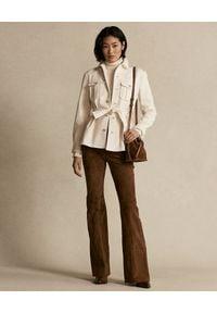 Ralph Lauren - RALPH LAUREN - Flanelowa koszula z paskiem. Okazja: na co dzień. Typ kołnierza: polo. Kolor: beżowy. Materiał: bawełna. Długość rękawa: długi rękaw. Długość: długie. Styl: casual, klasyczny