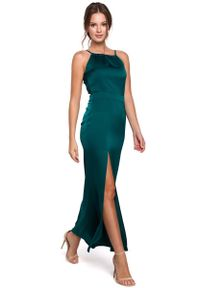 MAKEOVER - Zielona Maxi Sukienka z Dekoltem Holter Neck. Kolor: zielony. Materiał: poliester, elastan. Długość: maxi