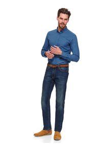 Niebieskie spodnie TOP SECRET na wiosnę, w kolorowe wzory, sportowe