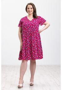 Różowa sukienka Moda Size Plus Iwanek z dekoltem w kształcie v, z krótkim rękawem, w kwiaty, midi