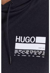Hugo - Bluza bawełniana. Kolor: czarny. Materiał: bawełna. Wzór: nadruk