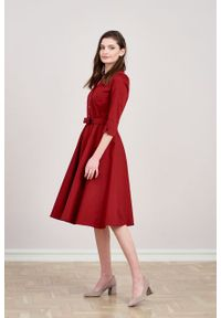 Marie Zélie - Sukienka Indis bawełna z elastanem bordo. Materiał: elastan, bawełna. Typ sukienki: trapezowe. Styl: vintage