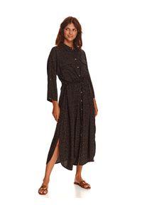 TOP SECRET - Sukienka z rękawem kimono. Kolor: czarny. Materiał: dzianina. Wzór: nadruk. Sezon: jesień. Długość: midi