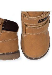 Brązowe buty zimowe Action Boy z cholewką przed kolano, z cholewką