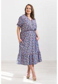 Fioletowa sukienka Moda Size Plus Iwanek do pracy, na wiosnę, w kwiaty