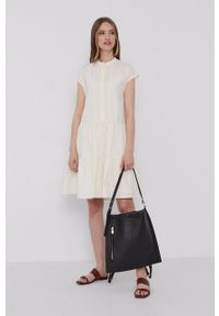 Samsoe & Samsoe - Samsoe Samsoe - Sukienka. Kolor: beżowy. Materiał: tkanina. Długość rękawa: krótki rękaw. Wzór: gładki. Typ sukienki: rozkloszowane #3