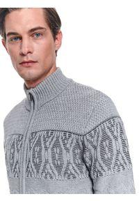 Szary sweter TOP SECRET casualowy, na zimę, na co dzień