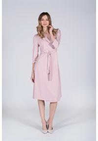 Różowa sukienka VEVA z kopertowym dekoltem, na co dzień, kopertowa, midi
