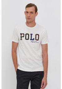 Polo Ralph Lauren - T-shirt bawełniany. Okazja: na co dzień. Typ kołnierza: polo. Kolor: beżowy. Materiał: bawełna. Wzór: nadruk. Styl: casual