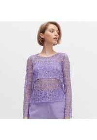 Reserved - Ażurowa bluzka - Fioletowy. Kolor: fioletowy. Wzór: ażurowy