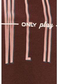 Brązowa bluzka Only Play casualowa, z nadrukiem, na co dzień