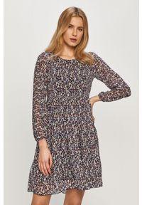 Fioletowa sukienka Haily's mini, casualowa, w grochy, z długim rękawem