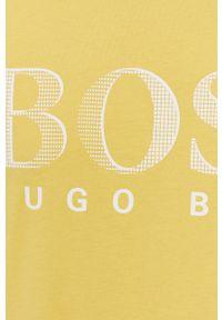 Żółty t-shirt BOSS casualowy, z nadrukiem, na co dzień