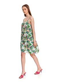 TOP SECRET - Luźna sukienka na ramiączkach w egzotyczny nadruk. Materiał: tkanina. Długość rękawa: na ramiączkach. Wzór: nadruk. Sezon: lato. Styl: wakacyjny. Długość: mini