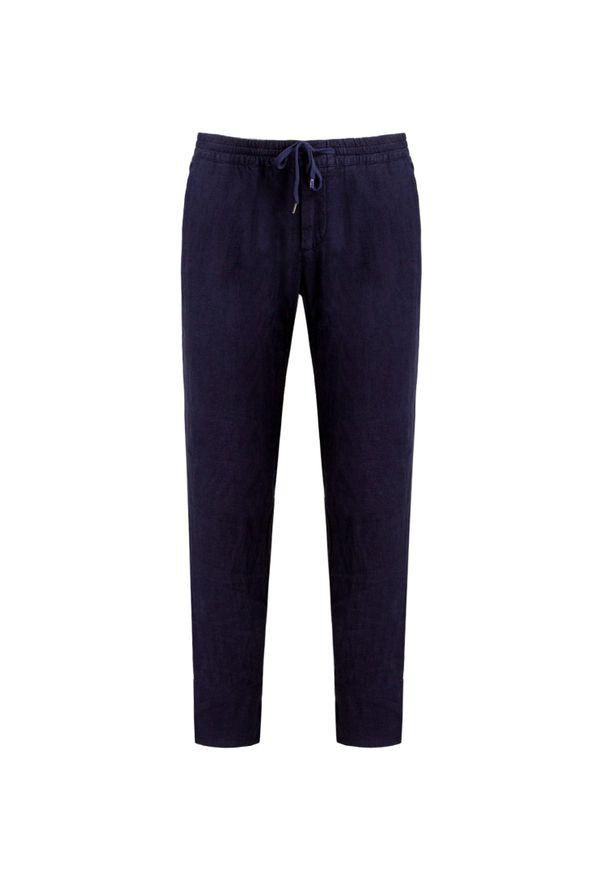 Niebieskie spodnie Alberto z aplikacjami, na lato, na co dzień