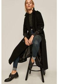 Czarny płaszcz TOMMY HILFIGER klasyczny, bez kaptura