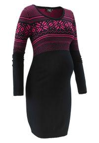 Sukienka dzianinowa z norweskim wzorem bonprix czarno-ciemnoróżowy wzorzysty. Kolekcja: moda ciążowa. Kolor: czarny. Materiał: wiskoza, dzianina, poliamid, materiał. Wzór: prążki, aplikacja