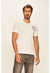 Biały t-shirt Guess Jeans casualowy, na co dzień, z okrągłym kołnierzem