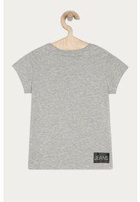Szara bluzka z krótkim rękawem Calvin Klein Jeans na co dzień, casualowa