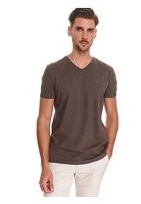 TOP SECRET - Gładki t-shirt z dekoltem w serek. Typ kołnierza: dekolt w serek. Kolor: szary. Wzór: gładki