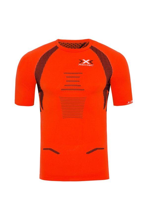 Pomarańczowa koszulka termoaktywna X-Bionic z dekoltem na plecach