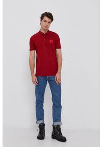 Hugo - Polo. Typ kołnierza: polo. Kolor: czerwony. Materiał: bawełna, dzianina. Długość: krótkie. Wzór: gładki